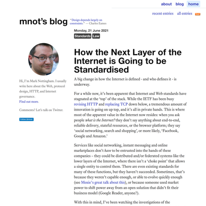 How the Next Layer of the Internet is Going to be Standardised