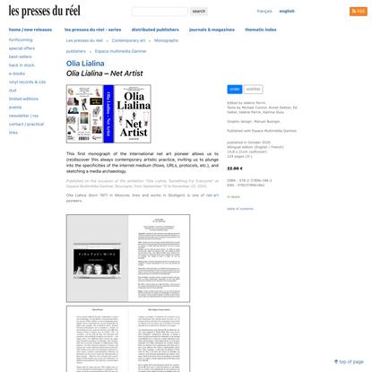 Olia Lialina : Olia Lialina – Net Artist - Les presses du réel (book)