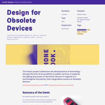 Design for Obsolete Devices - Anaëlle Beignon