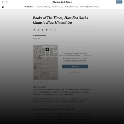Books of The Times; How Ben Sachs Came to Blow Himself Up (Published 1992)