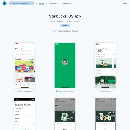 Starbucks iOS app screenshots