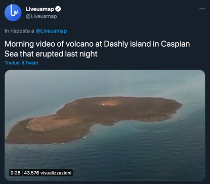 """Liveuamap on Twitter: """"Morning video of volcano at Dashly island in Caspian Sea that erupted last night pic.twitter.com/asSo..."""