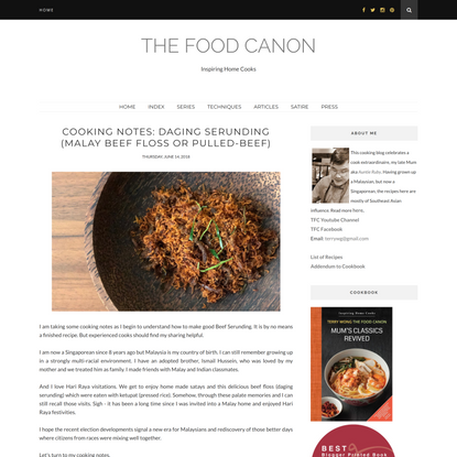 The Food Canon : Cooking Notes: Daging Serunding (Malay Beef floss or pulled-beef)