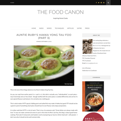 The Food Canon : Auntie Ruby's Hakka Yong Tau Foo (Part 3)