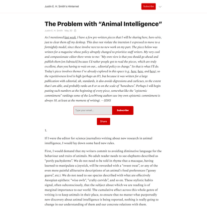 """The Problem with """"Animal Intelligence"""""""