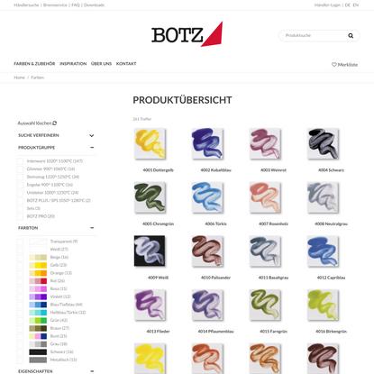 BOTZ Glasuren: Farben