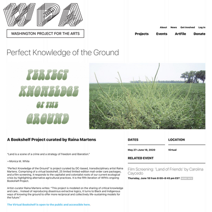 Perfect Knowledge of the Ground | Washington Project for the Arts