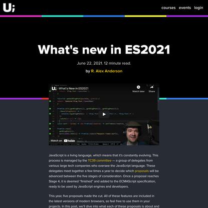 What's new in ES2021 - ui.dev