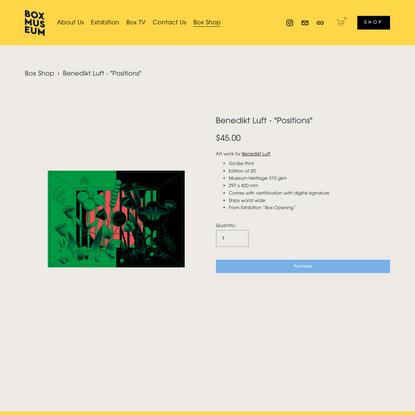 """Benedikt Luft - """"Positions"""" — Box Museum"""