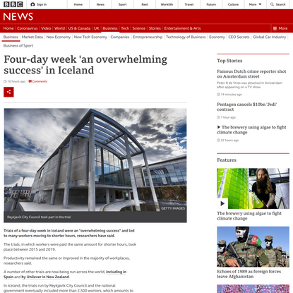 Four-day week 'an overwhelming success' in Iceland - BBC News