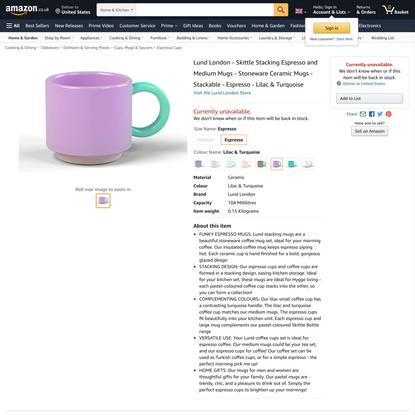 Lund London - Skittle Stacking Espresso and Medium Mugs - Stoneware Ceramic Mugs - Stackable - Espresso - Lilac & Turquoise