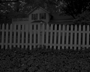 Dawoud Bey, Untitled #1 (Picket Fence and Farmhouse), from Night Coming Tenderly, Black (2017)