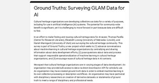 Ground Truths: Surveying GLAM Data for AI