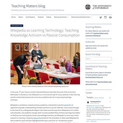 Wikipedia as Learning Technology: Teaching Knowledge Activism vs Passive Consumption