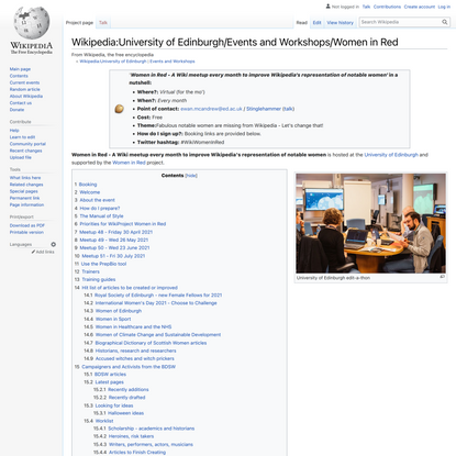 Wikipedia:University of Edinburgh/Events and Workshops/Women in Red - Wikipedia