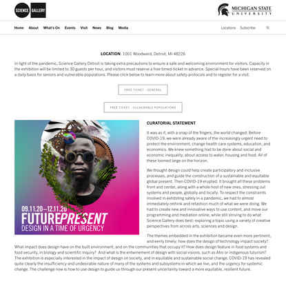 Future Present: Design in a Time of Urgency — Science Gallery Detroit