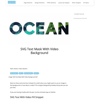 SVG Text Mask With Video Background – CodeMyUI
