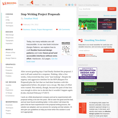 Stop Writing Project Proposals