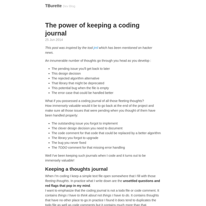 The power of keeping a coding journal · TBurette