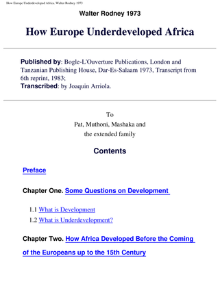 How Europe Underveloped Afriaca by Joaquin Arriola
