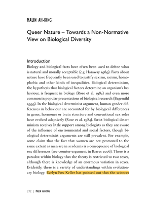 Queer Nature – Towards a Non-Normative View on Biological Diversity by Malin Ah-King