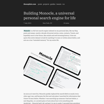 Building Monocle, a universal personal search engine for life | thesephist.com