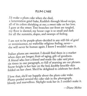 """Diane Mehta, """"Plum Cake"""""""