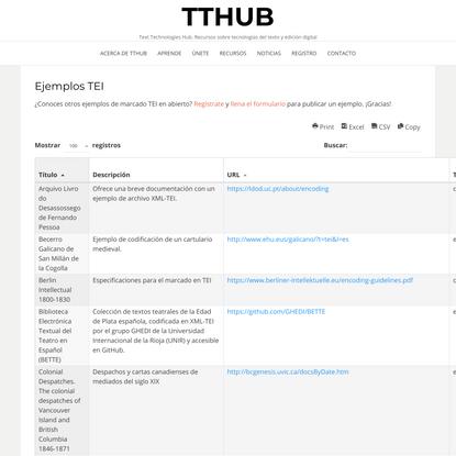 Ejemplos TEI – TTHub