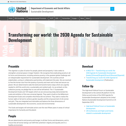 Transforming our world: the 2030 Agenda for Sustainable Development | Department of Economic and Social Affairs