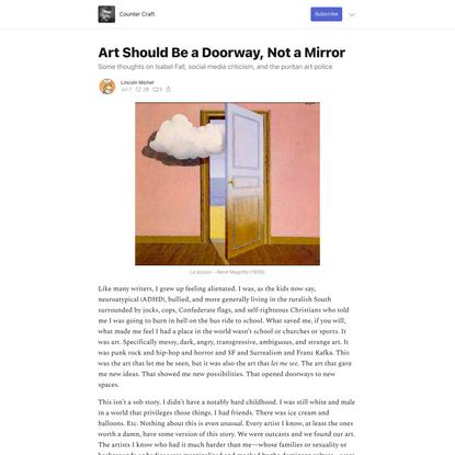 Art Should Be a Doorway, Not a Mirror