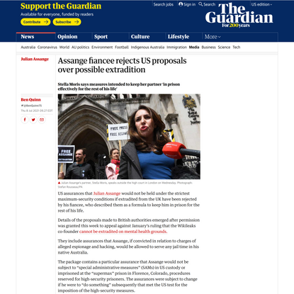 Assange fiancee rejects US proposals over possible extradition | Julian Assange | The Guardian