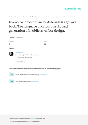 From Sekuomorphism to Material Design and back. The language of colours in the 2nd generation of mobile interface design.
