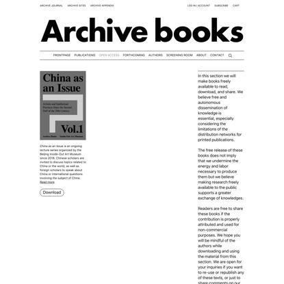Open access - Archive Books
