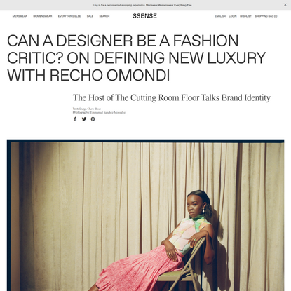 Can a Designer be a Fashion Critic? On Defining New Luxury with Recho Omondi