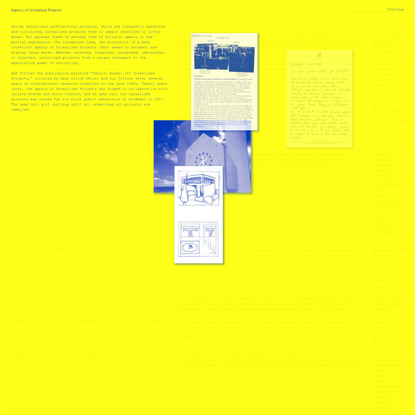 Agency of Unrealized Projects   e-flux