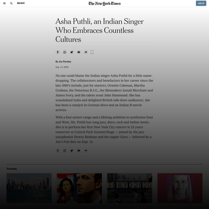 Asha Puthli, an Indian Singer Who Embraces Countless Cultures (Published 2006)