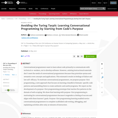 Avoiding the Turing Tarpit: Learning Conversational Programming by Starting from Code's Purpose   Proceedings of the 2021 CH...