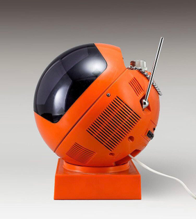 The model 3240 MU 'Videosphere' portable television. Produced by JVC of Japan in 1970