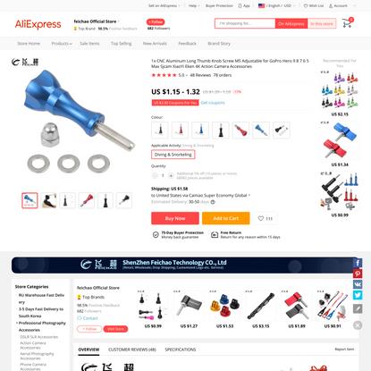 1.15US $ 17% OFF 1x CNC Aluminum Long Thumb Knob Screw M5 Adjustable for GoPro Hero 9 8 7 6 5 Max Sjcam XiaoYi Eken 4K Actio...