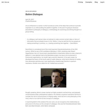 Bohm Dialogue — Are.na