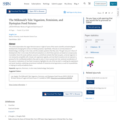 The Milkmaid's Tale: Veganism, Feminism, and Dystopian Food Futures by Angela Lee :: SSRN