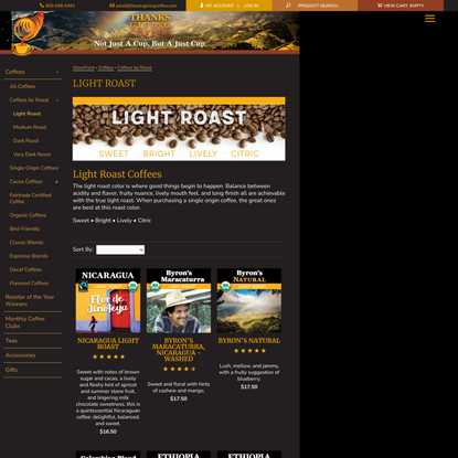 Light Roast Coffees / Light Roasted Coffee | Thanksgiving Coffee