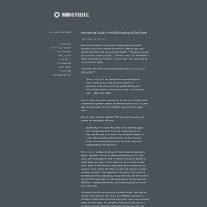 Annotating Apple's Anti-Sideloading White Paper