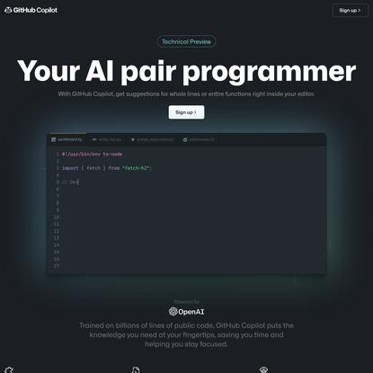 GitHub Copilot · Your AI pair programmer
