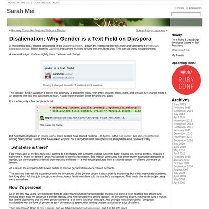 Disalienation: Why Gender is a Text Field on Diaspora