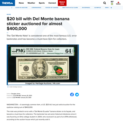 $20 bill with Del Monte banana sticker auctioned for almost $400,000