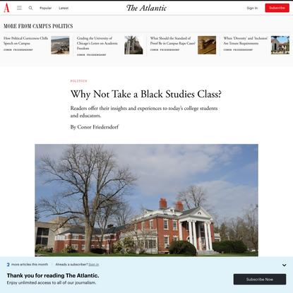 Why Not Take a Black Studies Class?