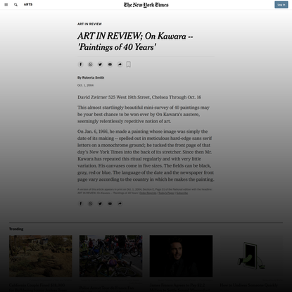 ART IN REVIEW; On Kawara -- 'Paintings of 40 Years' (Published 2004)