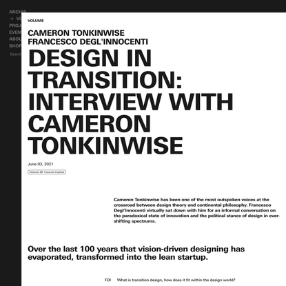 Design in transition: Interview with Cameron Tonkinwise - Archis