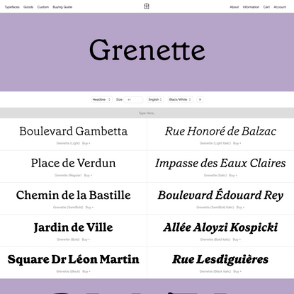 Grenette — Colophon Foundry